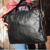 Black Laptop Leather Bag