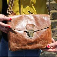 Louisa Cross-Body Pushthrough Tan Leather Crossbody Bag