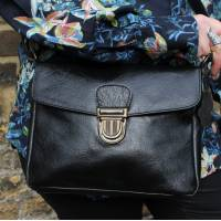 Louisa Satchel Black Leather Bag