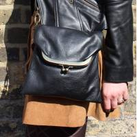 Mini Dublin Clip Bag Black Leather