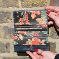 Madamzel Navy Blue And Black Floral Leather Wallet