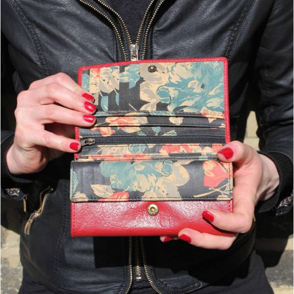 Madamzel Red And Black Floral Leather Wallet