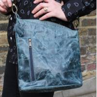 Marina Navy Blue Leather Bag