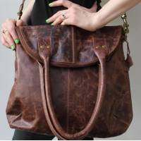 Michele Foldover Flapover Brown Scrunchy Leather Bag