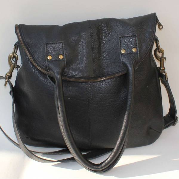Michele Foldover Black Leather Shoulder and Crossbody Bag