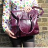 Foldover Bag Purple Leather