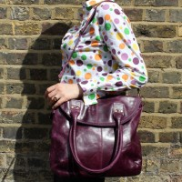 Michele Foldover Bag Purple Leather