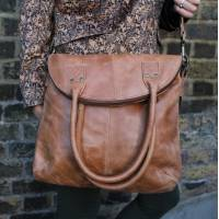 Michele Distressed Tan Leather Bag
