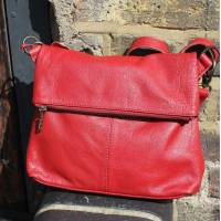 Foldover  Red Leather Bag