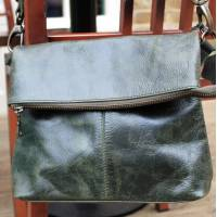 Flap Over in Olive Green Leather