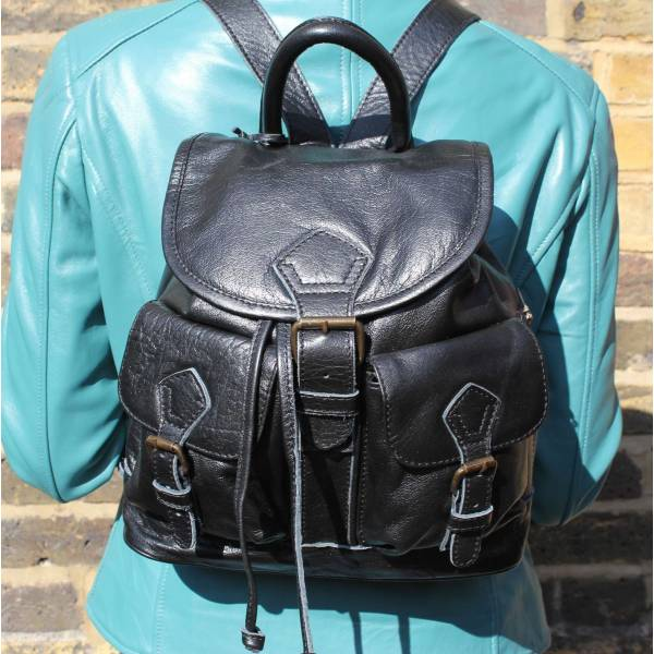 Rucksack Small Black Leather