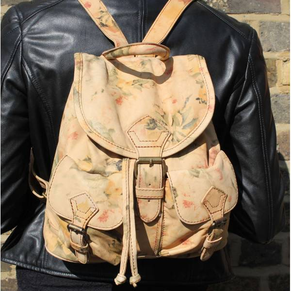 Rucksack Small Floral Leather