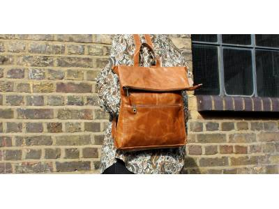 Amelie Convertible Backpack Bag Tan Smooth Leather