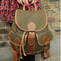Rucksack Dark Green Canvas and Leather Trim