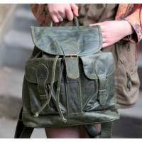 Rucksack Large Olive Green Leather