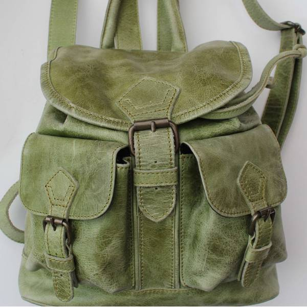 Rucksack Small Apple Green Leather