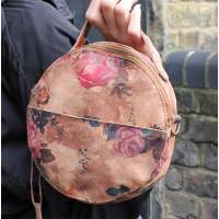 Rupert Round Bag N14 darkish floral print leather