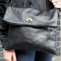 Russian Foldover Bag Black Leather