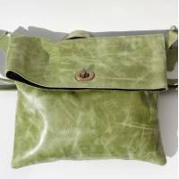 Russian Flapover Foldover Apple Green Leather