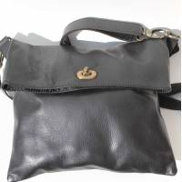 Russian Flapover Foldover Bag Black Leather