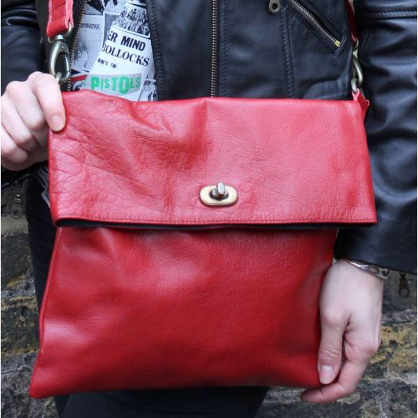Russian Flapover Foldover Red Leather