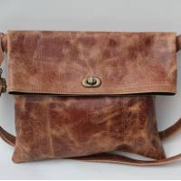 Russian Flapover Foldover Bag Tan Scrunchy Leather