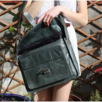 Satchel Single Buckle Charcoal Leather