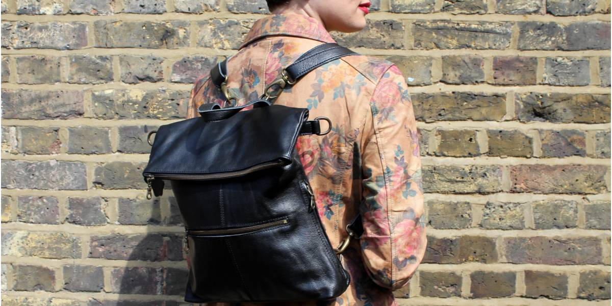 Amelie Rucksack 4-way Convertible Black Leather Bag
