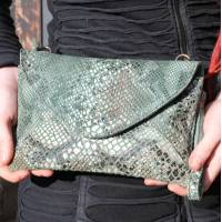 Sligo Clutch and Crossbody Minibag in Green Snake Style Leather