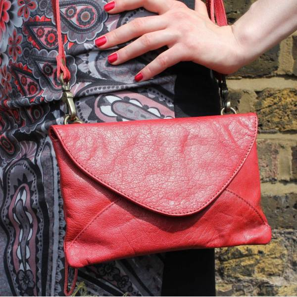 Clutch Red Leather