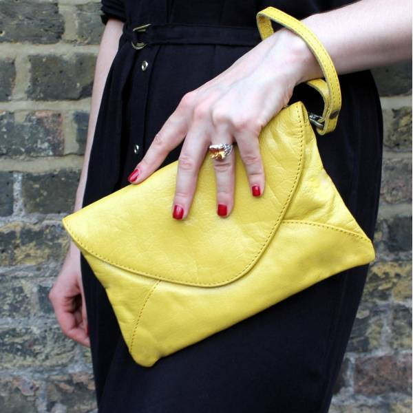 Clutch Yellow Leather