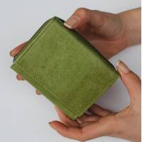 Apple Green & Flowers Leather Trifold Wallet