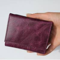 Small Grande Purple Trifold Leather Wallet