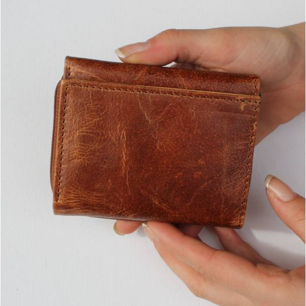 Small Grande Tan Floral Leather Trifold Wallet