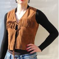 Waistcoat Fringy Tan Suede