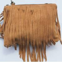 Tassel Bag Tan Real Suede Bag