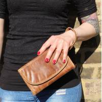 Theatre Convertible Clutch Bag Tan Leather