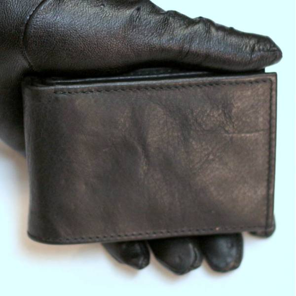Tiny Wallet Distressed Black Leather