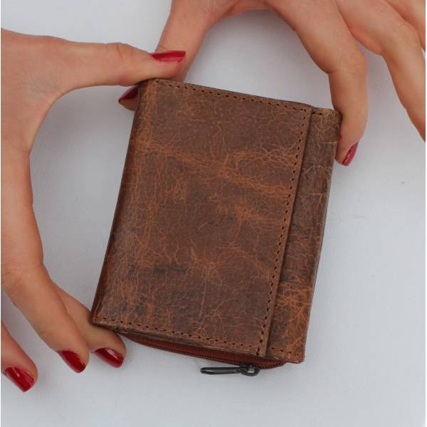 Small Grande Tan And Floral Leather Trifold Wallet