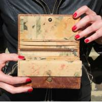 Wallet Tan And Floral Leather Wallet