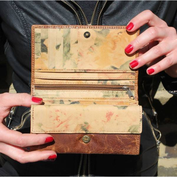 Madamzel Wallet Tan And Floral Leather Wallet