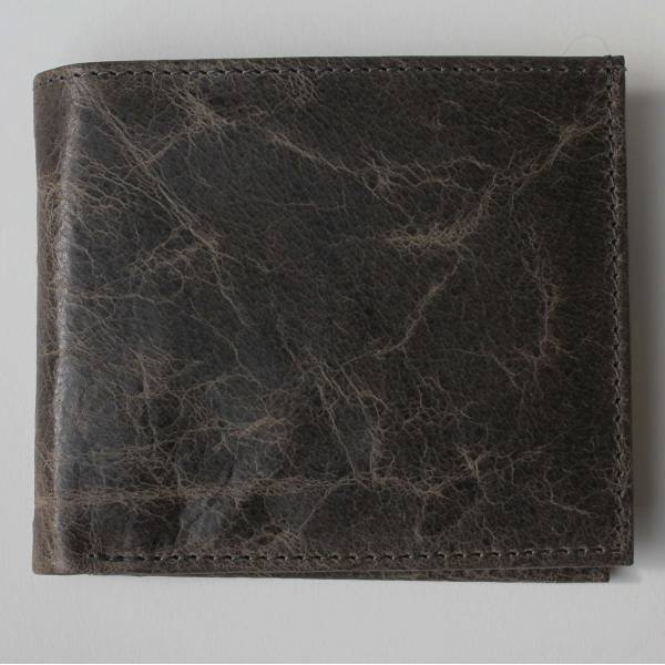 Mens Large Wallet Charcoal Leather Dark