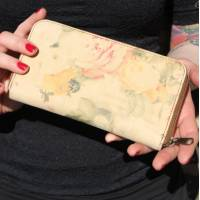 Zip Surround Floral Leather Wallet