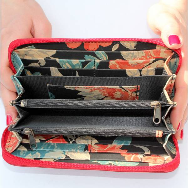 Zip Surround Wallet Red And Floral Leather