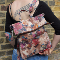 Convertible Ruckbag Summer Garden Floral Leather