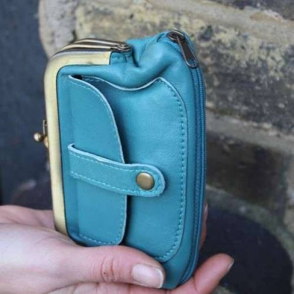 Amy Turquoise Blue Leather Wallet