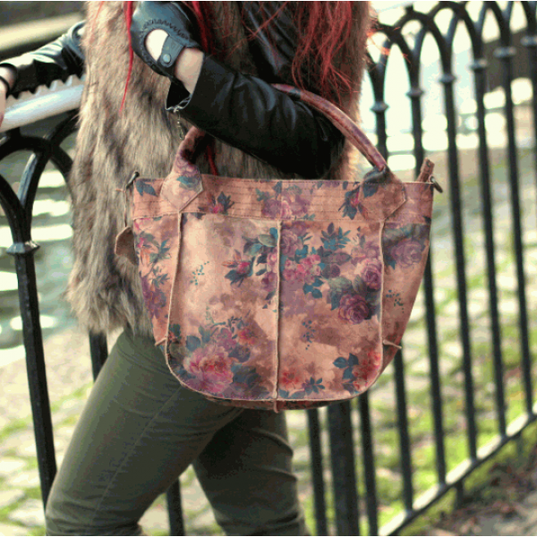 Bach Small Tote N14 Floral Leather