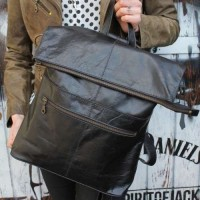 Belgian Rucksack Convertible Black Leather