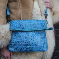 Mini Amelie Bag Foldover Blue Croc Print Leather