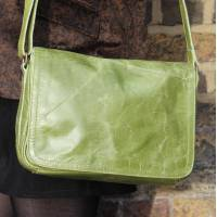 Denise Apple Green Leather Organizer Bag